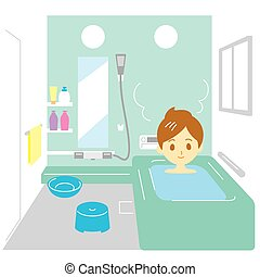 Taking a bath, woman, vector file