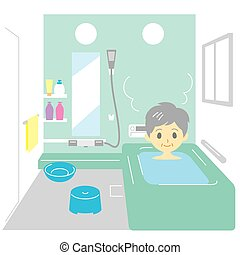 Taking a bath, old woman, vector file