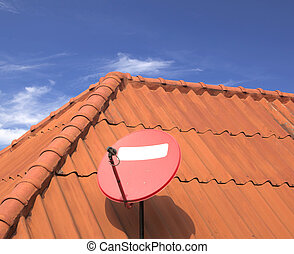 Satellite dishes house roof - The satellite dish on roof of...