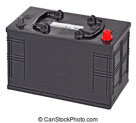 car battery - black car battery isolated