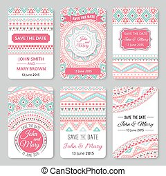 Set of perfect wedding templates with doodles tribal theme...