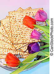 jewish holiday of Passover and its attributes, with matzo...