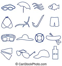 summer and beach simple outline icons set eps10