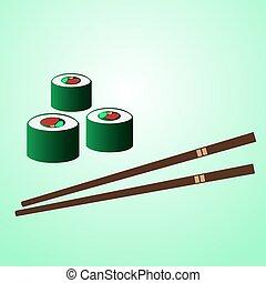 japan sushi food with chopstick on the table eps10