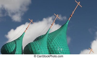 Flying in the sky church domes - Russian church in the...