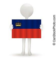 small 3d man holding a flag of Principality of Liechtenstein...