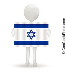 small 3d man holding a flag of State of Israel