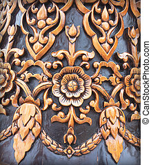 Antique Carved wood wall background.