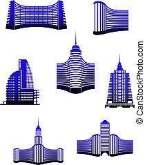 Buildings symbols - Symbols of modern and ancient buildings...