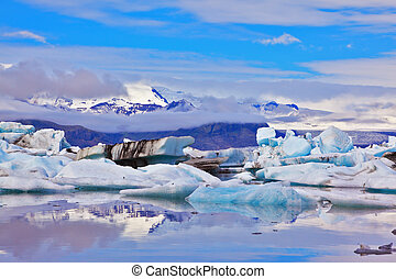 The ice floes of freakish forms - Icebergs and ice floes of...