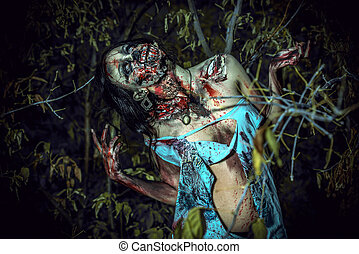 massacre - Horrible bloody zombie girl standing outdoor....