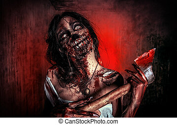 halloween horror - Scary bloody zombie girl with an ax...