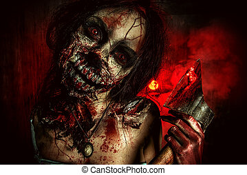 bloody evil - Scary bloody zombie girl with an ax Halloween...