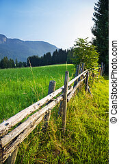 Alps traditional landscape Small wooden fence