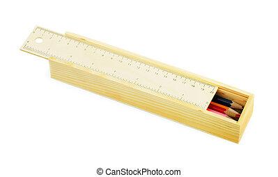 Pencil case with colour pencils