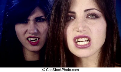 female vampires angry looking - Closeup of scary female...