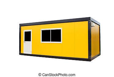 dörr, kontor, gul, isolerat, fönster, behållare, vit