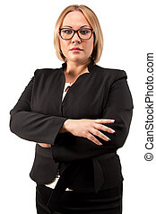 Photo business woman in glasses with arms crossed - Photo of...