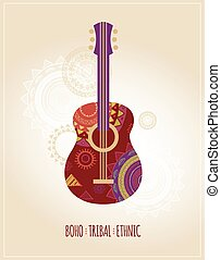 Bohemian, Tribal, Ethnic background with guitar icon -...
