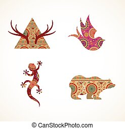Collection of patterned Bohemian, Tribal objects, elements and icons
