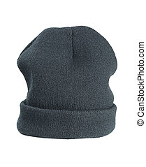Woolen hat - Woolen green hat on a white background
