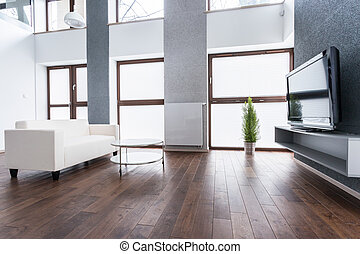 Exclusive living room interior with plasma TV on the wall