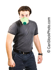 Strange strong man with protective mask. Isolated on white.