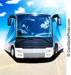 Super bus. Funny tourist bus front view.