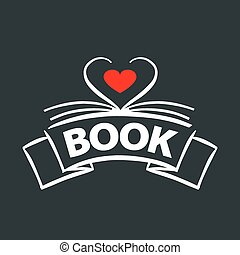 vector logo book in the form of heart