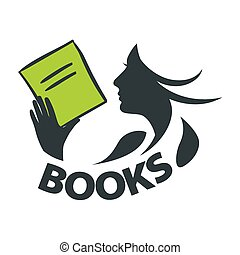 vector logo girl reading a book