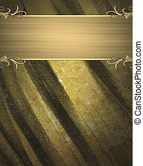 grunge texture with gold ribbon with patterns. Pattern for decoration