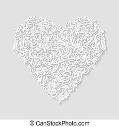 Decorated heart - Decorative white hearts of the rich...