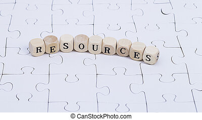 """Resources - White puzzle with wooden letters """"resources"""""""
