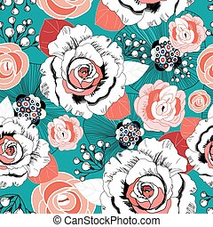 summer floral pattern - gentle summer floral pattern with...