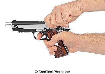mano, con, pistola,