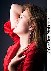 Young woman profile portrait