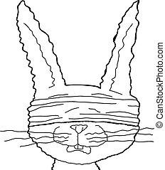 Rabbit Prisoner Outline - Single outlined hand drawn cartoon...