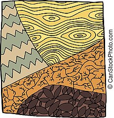 Abstract Drought Illustration - Symbolic zentangle of plants...