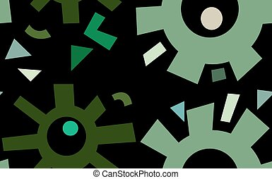 Green Gears Over Black - Seamless pattern of abstract green...
