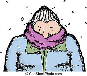 Mature Woman in Snowfall