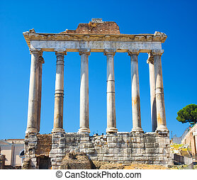 Columns on Rome Forum. Front view.