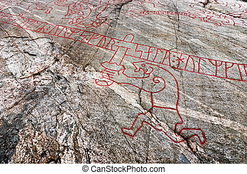 Famous viking rock carving - Detail from one of the most...