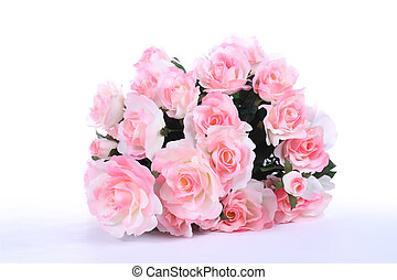 Pink roses on white table