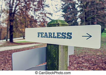 Sign Post Showing Direction to Fearlessness - Concept Image...