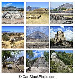 Set of Mexican Pyramids - Set of photos - Mexico Pyramids -...