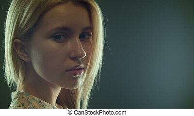 feminine romantic style in the dark - close portrait of a...
