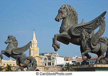 pegasus, estátuas, em, Cartagena,