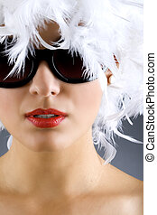 woman with white feather wig and sunglasses - picture of...