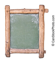Small blackboard with wooden frame. Isolated on white.