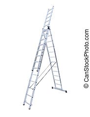 Aluminum metal step-ladder isolated white background